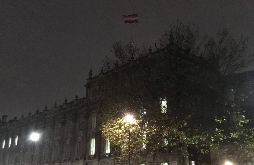 Trans flag over Cabinet Office